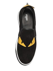 Fendi Monster Patches Suede Slip On Sneakers