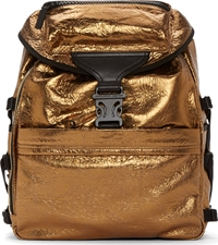 Alexander Mcqueen Gold Foiled Leather Spine Embossed Backpack