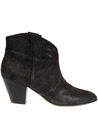 Ash Black Jalouse Distressed Suede Ankle Boots