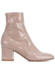 Valentino Almond Toe Ankle Boots Nude Neutrals