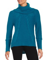 Ivanka Trump Cable Knit Cowlneck Sweater Azure