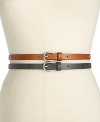 Styleandco. Style Co. Rhinestud 2 For 1 Skinny Belts Only At Macy's Black Cognac