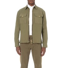 Palm Angels Zipped Cotton Blend Jacket Military Green