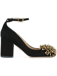 Elie Saab Pom Pom Sling Back Pumps Black