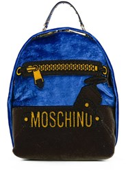Moschino Mini Trompe L'oeil Logo Backpack Blue