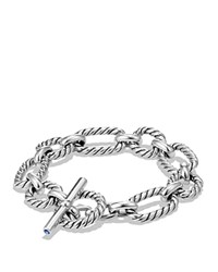 David Yurman Chain Cushion Link Bracelet With Blue Sapphire In Sterling Silver Blue Silver