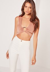 Missguided Ring Front Cut Out Bralet Pink Beige