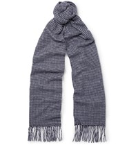 Begg And Co Fringed Houndstooth Cashmere Scarf Navy