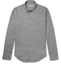 Burberry Slim Fit Panelled Houndstooth Cotton Shirt Black