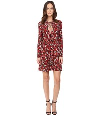 Just Cavalli Pin Up Printed Long Sleeve Runway Dress Red Variant Women's Dress Orange