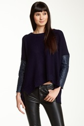 Cecico Faux Leather Quilted Sleeve Sweater