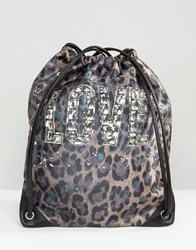 Love Moschino Leopard Print Nylon Drawstring Backpack Verde Green