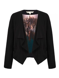 Yumi Waterfall Draped Blazer With Tree Print Black