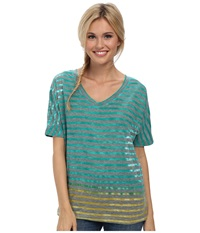 Prana Adrienne Top Dynasty Green Women's Short Sleeve Pullover