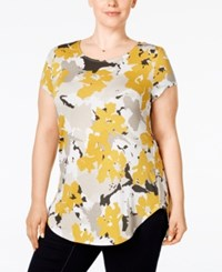 Alfani Plus Size Printed T Shirt Only At Macy's Floral Movement