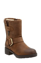 Clarksr Women's Clarks 'Reunite Go' Gore Tex Waterproof Moto Boot Dark Tan Leather