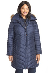 Marc New York 'Karla' Faux Fur Trim Long Down And Feather Fill Coat Plus Size Denim