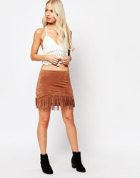 Tfnc Fringe Detail Suede Skirt Brown