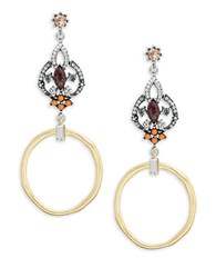 Gerard Yosca Stone And Hoop Chandelier Earrings Gold