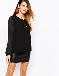 Tfnc Lace Up Top With Blouson Sleeve Black