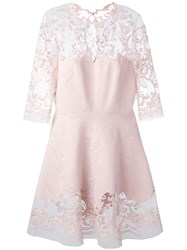 Ermanno Scervino Damask Lace Overlay Dress Pink And Purple