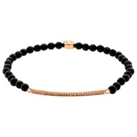 Melissa Odabash Swarovski Crystal Bar And Onyx Bead Stretch Bracelet Rose Gold Black