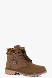Boohoo Chunky Hiker Boot With Buckle Brown