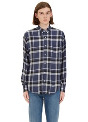 Ami Alexandre Mattiussi Checked Flannel Shirt Blue