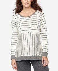 A Pea In The Pod Maternity Striped French Terry Sweatshirt Grey White Stripe