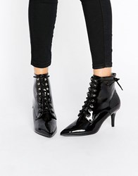 Daisy Street Lace Up Point Mid Heeled Ankle Boots Black Patent