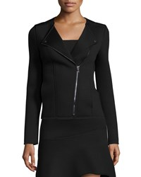 Three Dots Moto Jacket With Asymmetric Zip Front Black Charcoal