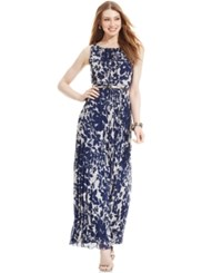 Jessica Howard Petite Floral Print Belted Maxi Dress Dark Blue