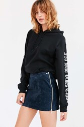 Obey Nomad Suede Side Zip Mini Skirt Navy