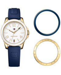Tommy Hilfiger Women's Casual Sport Navy Silicone Strap Watch And Interchangeable Bezels Set 34Mm 1781679 Gold