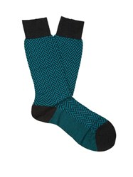 Pantherella Hatton Wool Blend Socks Green Multi