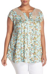Daniel Rainn Plus Size Women's Lace Bib Short Sleeve Top