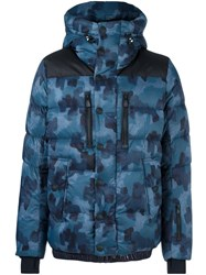 Moncler Grenoble Camouflage Zip Up Jacket Blue