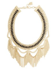 Bcbgmaxazria Woven Chain Fringed Bib Necklace Gold