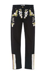 Cynthia Rowley Embroidered Poplin Twill Lace Up Pant Black
