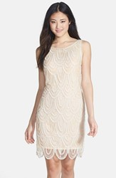 Women's Pisarro Nights Embellished Mesh Cocktail Dress Champagne