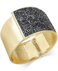 Inc International Concepts Rose Gold Tone Glittery Wide Hinged Bangle Bracelet Only At Macy's Black