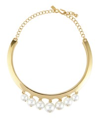 Kenneth Jay Lane Golden Pearly Beaded Collar Necklace Polished G
