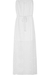 Miguelina Olive Crocheted Cotton Lace Maxi Dress White