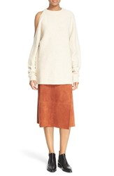 Tibi Women's Shoulder Cutout Side Button Sweater