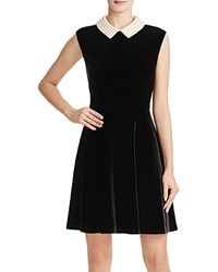Betsey Johnson Pearl Collar Velvet Dress Black