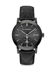 Burberry Ionic Plated Stainless Steel And Leather Chronograph Watch Black