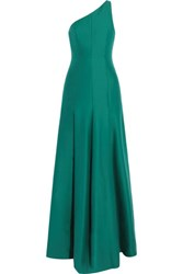 Halston Heritage One Shoulder Cotton And Silk Blend Gown Emerald