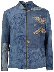 By Walid Embroidered Zipped Jacket Blue