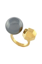 Louise Et Cie 'Kammenstrat' Faux Pearl Open Ring Gold Grey Pearl