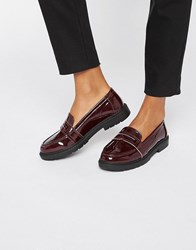 London Rebel Chunky Loafers Burgundy Patent Red